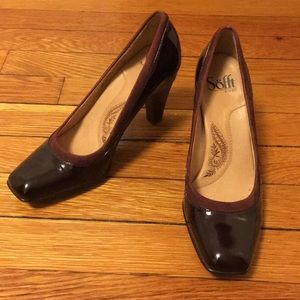 Sofft Patent Leather Heels in Wine, Sz 7